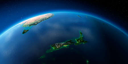 Highly detailed planet Earth with exaggerated relief illuminated by the evening sun. New Zealand. Stock fotó - 127289540