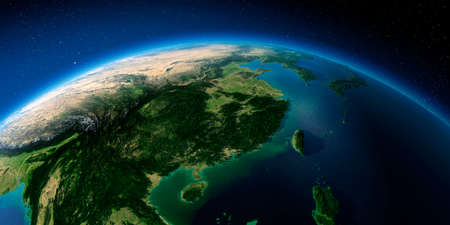 Highly detailed planet Earth with exaggerated relief illuminated by the evening sun. Eastern China and Taiwan.