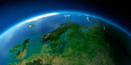 Highly detailed planet Earth with exaggerated relief illuminated by the evening sun. European part of Russia. Stock fotó - 127289544