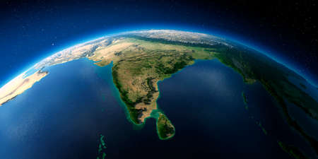 Highly detailed planet Earth with exaggerated relief illuminated by the evening sun. India and Sri Lanka. Stock fotó - 127289545