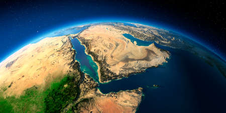 Highly detailed planet Earth with exaggerated relief illuminated by the evening sun. Saudi Arabia.