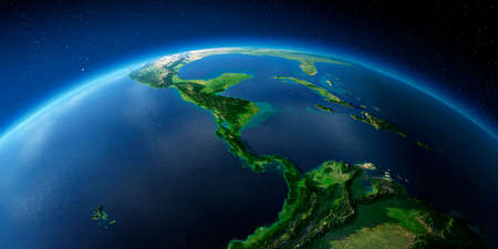 Highly detailed planet Earth with exaggerated relief illuminated by the evening sun. The countries of Central America. Stock fotó