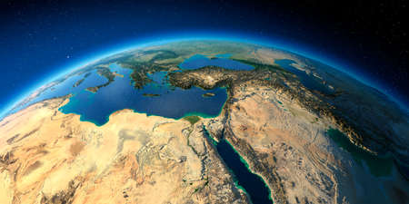 Highly detailed planet Earth with exaggerated relief illuminated by the evening sun. Africa and Middle East. Stock fotó - 127289547