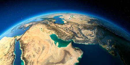 Highly detailed planet Earth with exaggerated relief illuminated by the evening sun. Persian Gulf. Stock fotó - 127289549