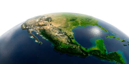 Highly detailed planet Earth with exaggerated relief and transparent oceans illuminated by sunlight. Mexico.