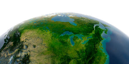 Highly detailed planet Earth with exaggerated relief and transparent oceans illuminated by sunlight. North America. United States and Canada. Great Lakes.