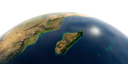 Highly detailed planet Earth with exaggerated relief and transparent oceans illuminated by sunlight. Africa and Madagascar Stock Photo