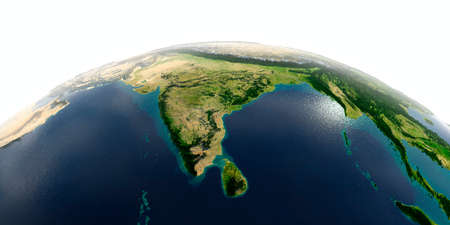 Highly detailed planet Earth with exaggerated relief and transparent oceans illuminated by sunlight. India and Sri Lanka.