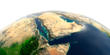 Highly detailed planet Earth with exaggerated relief and transparent oceans illuminated by sunlight. Saudi Arabia. Stock Photo