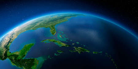 Highly detailed planet Earth with exaggerated relief illuminated by the evening sun. Caribbean Sea and the Gulf of Mexico. Stock Photo
