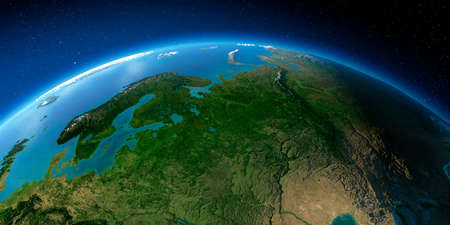 Highly detailed planet Earth with exaggerated relief illuminated by the evening sun. European part of Russia Stock fotó