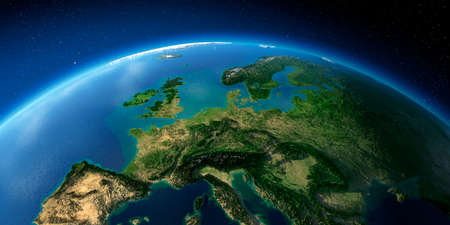 Highly detailed planet Earth with exaggerated relief illuminated by the evening sun. Central Europe.