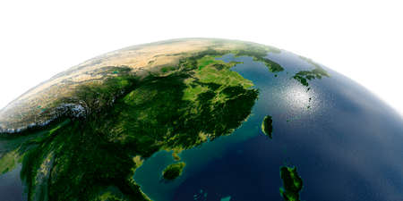 Highly detailed planet Earth with exaggerated relief and transparent oceans illuminated by sunlight. Eastern China and Taiwan. Stock fotó - 127289572