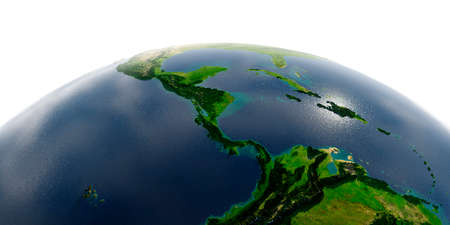 Highly detailed planet Earth with exaggerated relief and transparent oceans illuminated by sunlight. The countries of Central America.