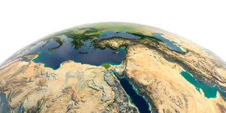 Highly detailed planet Earth with exaggerated relief and transparent oceans illuminated by sunlight. Africa and Middle East.