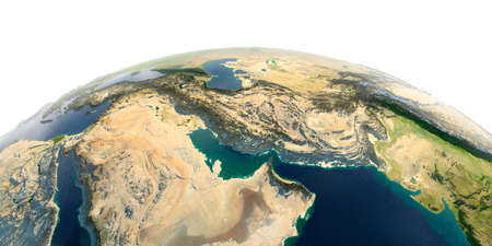 Highly detailed planet Earth with exaggerated relief and transparent oceans illuminated by sunlight. Persian Gulf. Stock fotó
