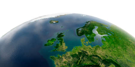 Highly detailed planet Earth with exaggerated relief and transparent oceans illuminated by sunlight. United Kingdom and the North Sea. Stock fotó