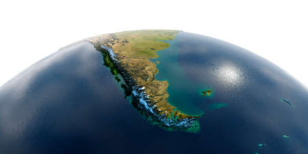 Highly detailed planet Earth with exaggerated relief and transparent oceans illuminated by sunlight. South America. Tierra del Fuego. Stock fotó - 127289581