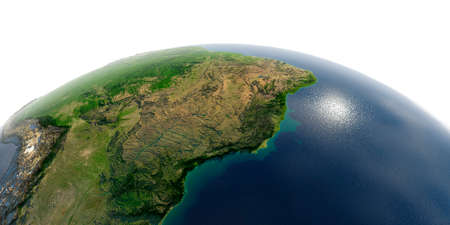 Highly detailed planet Earth with exaggerated relief and transparent oceans illuminated by sunlight. East Coast of Brazil. Stock fotó