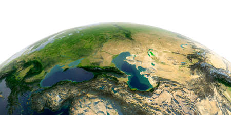 Highly detailed planet Earth with exaggerated relief and transparent oceans illuminated by sunlight. Caucasus.