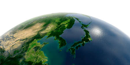 Highly detailed planet Earth with exaggerated relief and transparent oceans illuminated by sunlight. Korea and Japan.