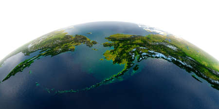 Highly detailed planet Earth with exaggerated relief and transparent oceans illuminated by sunlight. Detailed Earth. Chukotka, Alaska and the Bering Strait. Stock fotó - 127289585