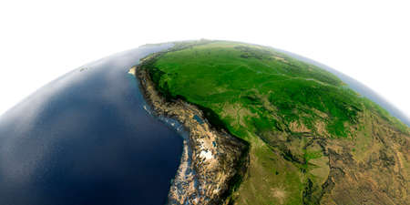 Highly detailed planet Earth with exaggerated relief and transparent oceans illuminated by sunlight. Bolivia, Peru, Brazil.