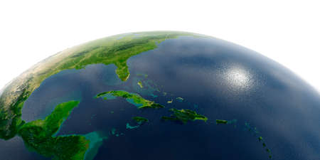 Highly detailed planet Earth with exaggerated relief and transparent oceans illuminated by sunlight. Caribbean Sea and the Gulf of Mexico.