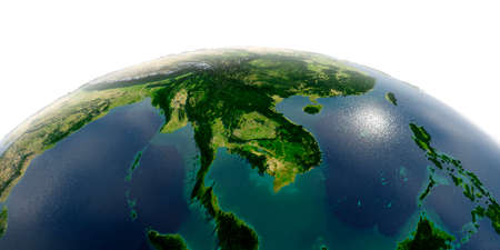 Highly detailed planet Earth with exaggerated relief and transparent oceans illuminated by sunlight. Indochina peninsula.