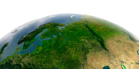 Highly detailed planet Earth with exaggerated relief and transparent oceans illuminated by sunlight. European part of Russia. Stock fotó