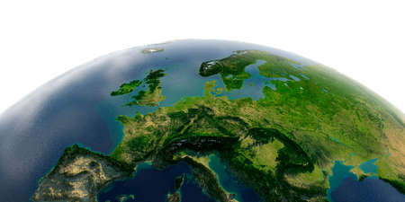 Highly detailed planet Earth with exaggerated relief and transparent oceans illuminated by sunlight. Central Europe.