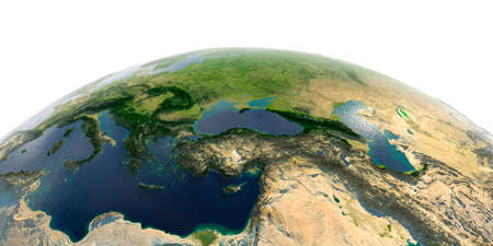 Highly detailed planet Earth with exaggerated relief and transparent oceans illuminated by sunlight. Middle East countries. Stock fotó - 127290591