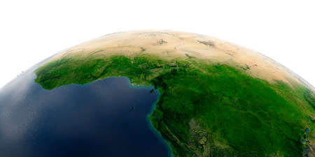 Highly detailed planet Earth with exaggerated relief and transparent oceans illuminated by sunlight. Africa. Countries of the Gulf of Guinea. Stock Photo