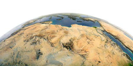 Highly detailed planet Earth with exaggerated relief and transparent oceans illuminated by sunlight. North Africa. Libya and the Mediterranean Sea.