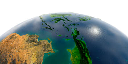 Highly detailed planet Earth with exaggerated relief and transparent oceans illuminated by sunlight. Southeast Asia. Indonesia. Stock Photo
