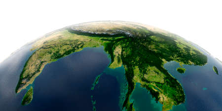 Highly detailed planet Earth with exaggerated relief and transparent oceans illuminated by sunlight. The eastern part of India, Bangladesh, Nepal, Bhutan, Myanmar, west of Thailand. Stock Photo