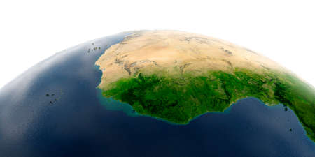 Highly detailed planet Earth with exaggerated relief and transparent oceans illuminated by sunlight. West African countries. Stock fotó - 127290600