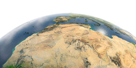 Highly detailed planet Earth in the morning. Exaggerated precise relief lit morning sun. North Africa. Algeria, Morocco and Tunisia.