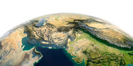 Highly detailed planet Earth in the morning. Exaggerated precise relief lit morning sun. South Asia. Pakistan, Afghanistan, India.