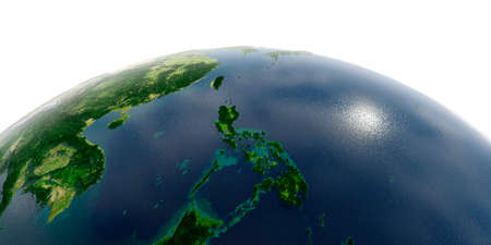 Highly detailed planet Earth in the morning. Exaggerated precise relief lit morning sun. Southeast Asia. Philippines.