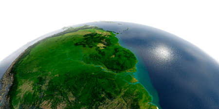 Highly detailed planet Earth in the morning. Exaggerated precise relief lit morning sun. South America. Brazil, Guyana, Suriname, French Guiana.