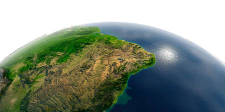 Highly detailed planet Earth in the morning. Exaggerated precise relief lit morning sun. The eastern part of South America. Brazil.