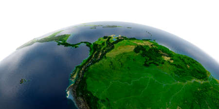 Highly detailed planet Earth with exaggerated relief and transparent oceans illuminated by sunlight. The western part of South America. Peru, Ecuador, Colombia, Venezuela and part of Brazil.