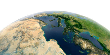 Highly detailed planet Earth with exaggerated relief and transparent oceans illuminated by sunlight. Africa and Europe. The waters of the Mediterranean Sea. Stock fotó - 127290610