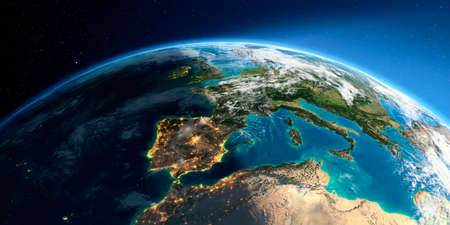 Highly detailed Earth with atmosphere, exaggerated relief and light-flooded cities. Transition from night to day. Part of Europe, the Mediterranean Sea. 3D rendering.