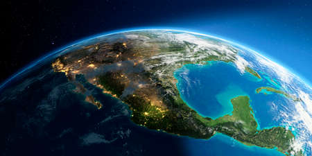 Highly detailed Earth with atmosphere, exaggerated relief and light-flooded cities. Transition from night to day. North America. Mexico. 3D rendering. Stock fotó - 129136094