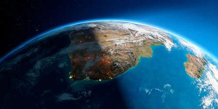 Highly detailed Earth with atmosphere, exaggerated relief and light-flooded cities. Transition from night to day. South Africa. 3D rendering. Stock fotó