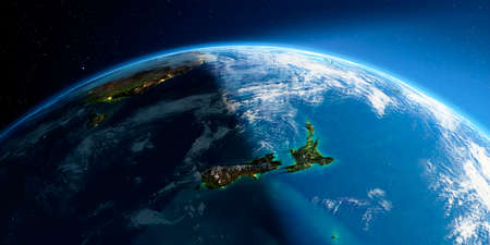 Highly detailed Earth with atmosphere, exaggerated relief and light-flooded cities. Transition from night to day. New Zealand. 3D rendering. Stock fotó - 129136099