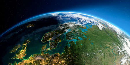Highly detailed Earth with atmosphere, exaggerated relief and light-flooded cities. Transition from night to day. Europe. Scandinavia. 3D rendering. Stock Photo