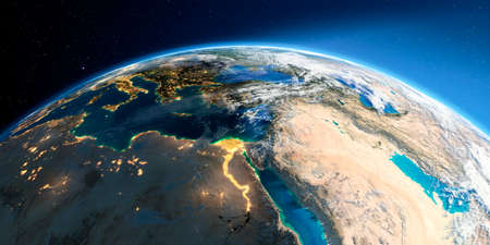 Highly detailed Earth with atmosphere, exaggerated relief and light-flooded cities. Transition from night to day. Africa and Middle East. 3D rendering.